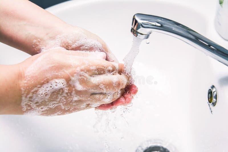 Handwas met zeep royalty-vrije stock afbeelding