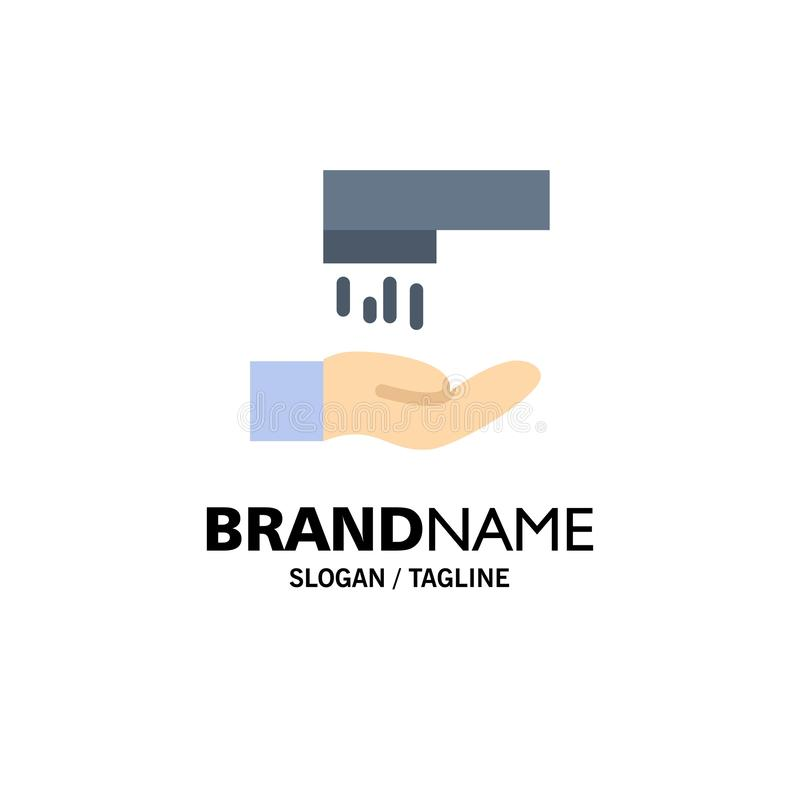 Handwas, Was, Schoonmakende Zaken Logo Template vlakke kleur stock illustratie
