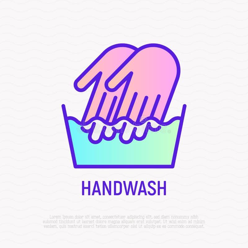 Handwash symbol: two hands in wash bowl. Thin line icon. Modern vector illustration vector illustration