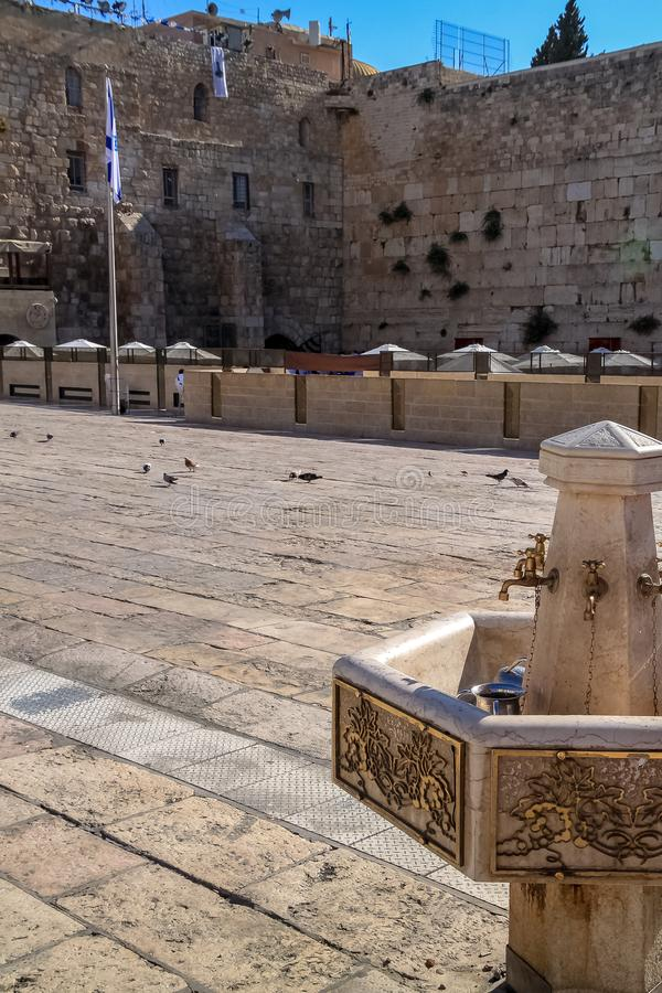 Handwashing station at the Western Wall in the old city of Jerusalem. Israel stock photos