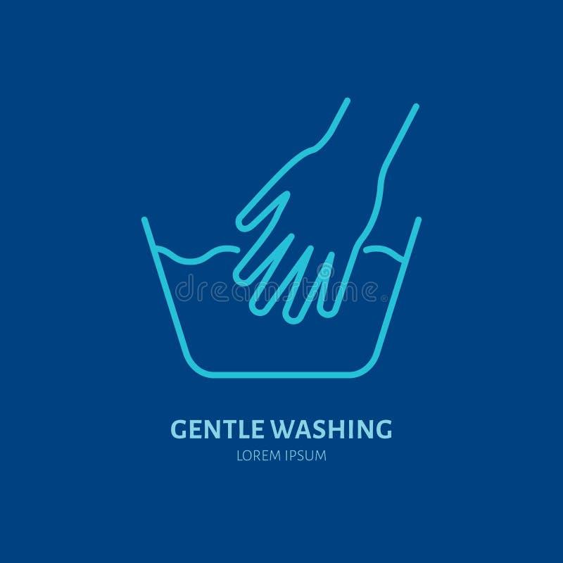 Handwashpictogram, het zachte teken van de waslijn Vlak embleem voor launderette de dienst Logotype voor zelfbedieningswasserij,  vector illustratie