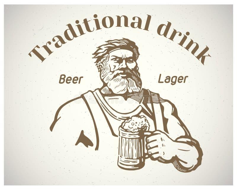 Handwerker und des Bieres stock abbildung