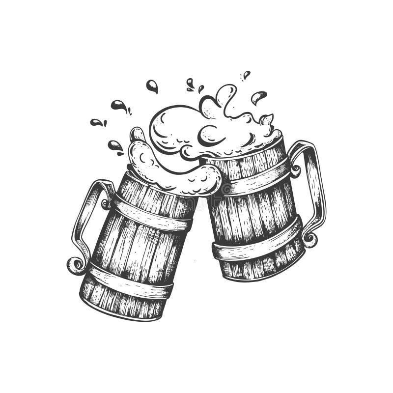 Handwerks-Bier Logo, handgeschriebene Beschriftung für Restaurant, Cafémenü Zeichnung von Bierkrügen vektor abbildung