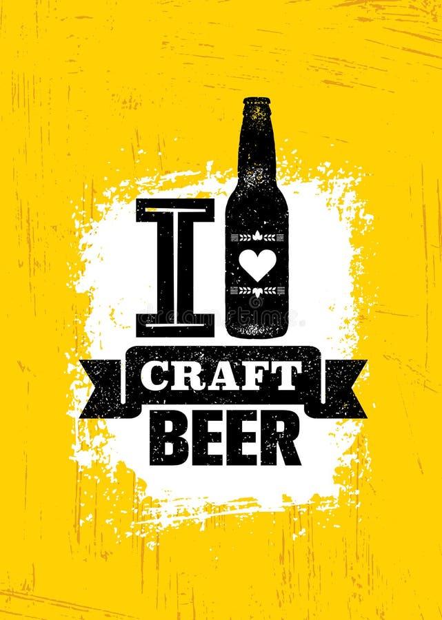 Handwerks-Bier verkaufte hier raue Fahne Vektor-Handwerker-Getränkeillustrations-Konzept des Entwurfes auf Schmutz beunruhigtem H stock abbildung
