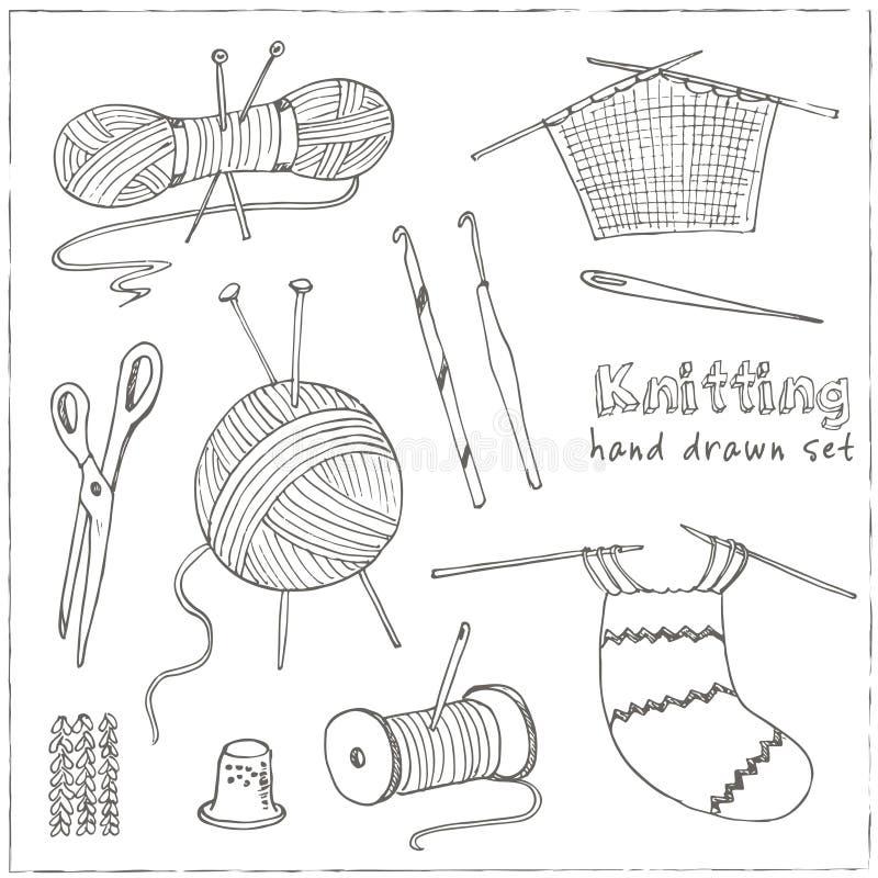 Handwerksikonen - nähende Ikonen für das Nähen, strickend, Handwerk, Hobbys Sammlung Gestaltungselemente auf Weiß stock abbildung