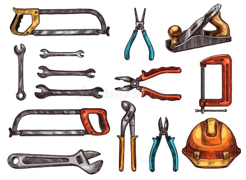 Handwerkzeug, lokalisierte Skizzen der Arbeit Instrument stock abbildung
