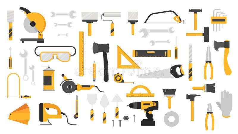 Handwerkzeugsatz Sammlung Ausrüstung für Reparatur stock abbildung