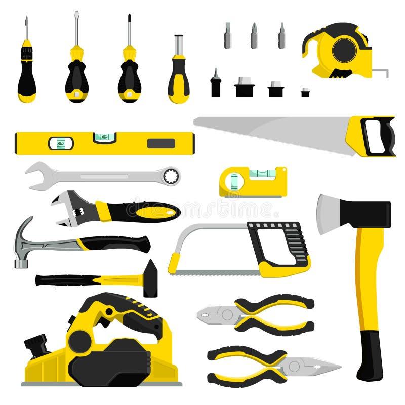 Handwerkzeugvektor-Bauhandwerkzeuge hämmern Zangen und Schraubenzieher des industriellen Satzes der Werkzeugkastenillustrations-W stock abbildung