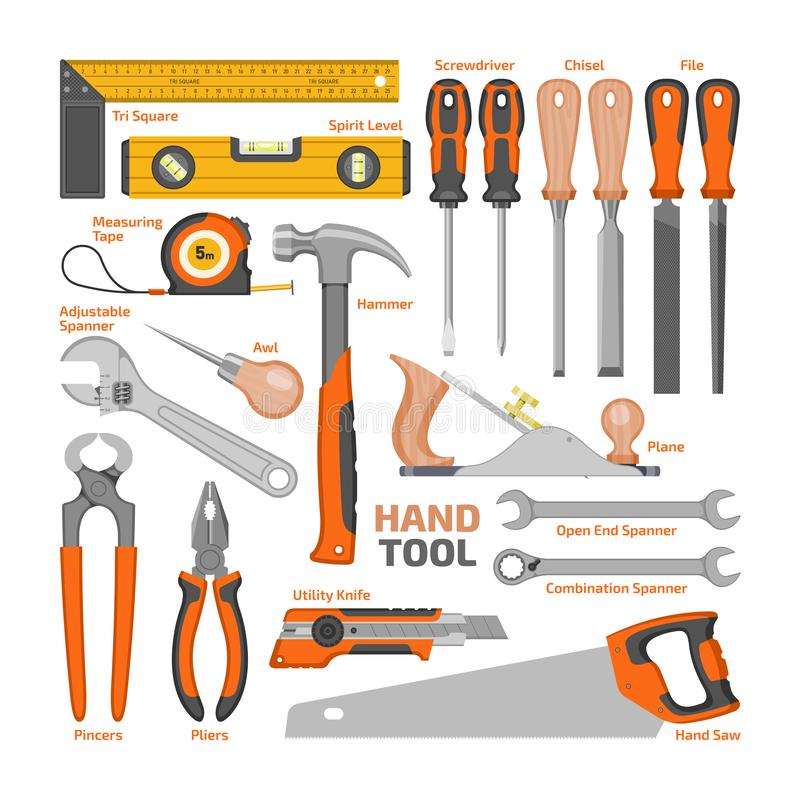 Handwerkzeugvektor-Bauhandwerkzeuge hämmern Zangen und Schraubenzieher des Werkzeugkastenillustrations-Werkstattsatzes Tischler stock abbildung