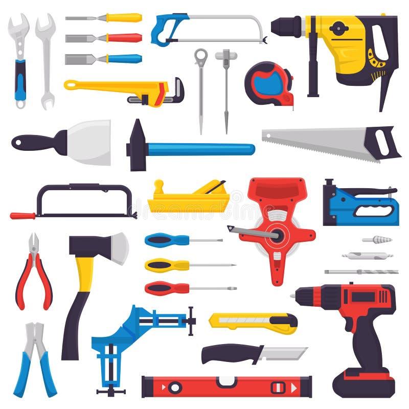 Handwerkzeugvektor-Bauhandwerkzeuge hämmern Zangen und Schraubenzieher des Werkzeugkastenillustrations-Werkstattsatzes Tischler vektor abbildung