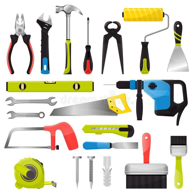 Handwerkzeugvektorhandwerkzeuge hämmern Zangen und Schraubenzieher des Werkzeugkastenillustrationsbau-Werkstattsatzes Tischler lizenzfreie abbildung