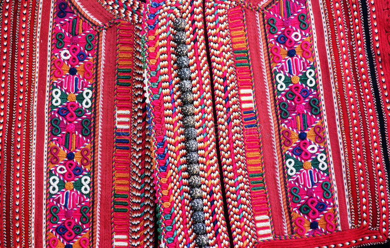 Handwoven traditional macedonian vest. Picture of a Handwoven macedonian vest, macro royalty free stock image