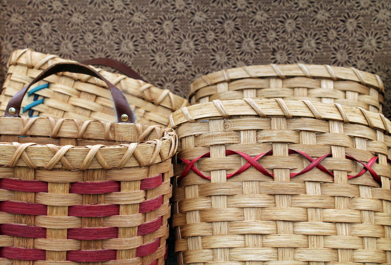 Handwoven Wooden Baskets. On Display stock images