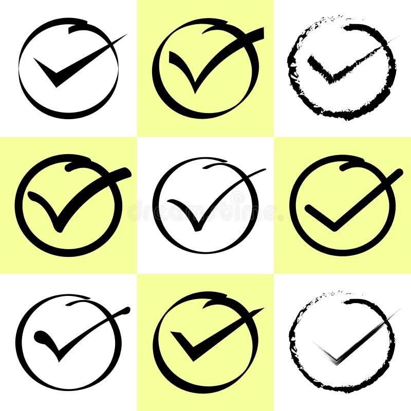 Handwrite-Art Satz des Auswahlkästchens Nehmen Sie, Checkbox oder Häkchen an stock abbildung