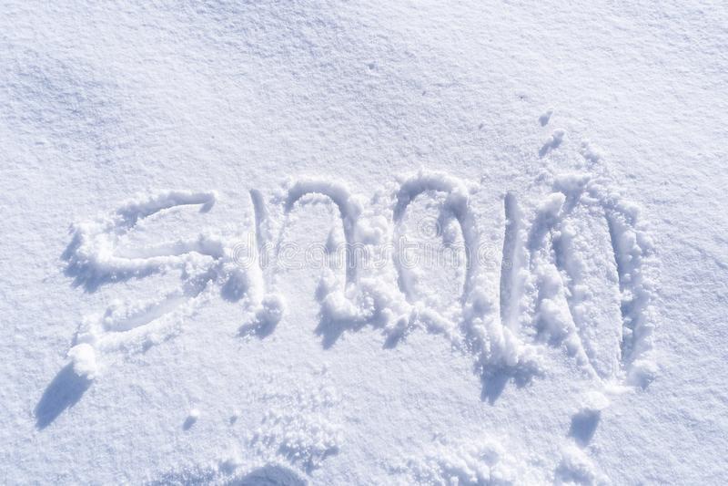 Handwriting Śnieżny tekst obrazy stock