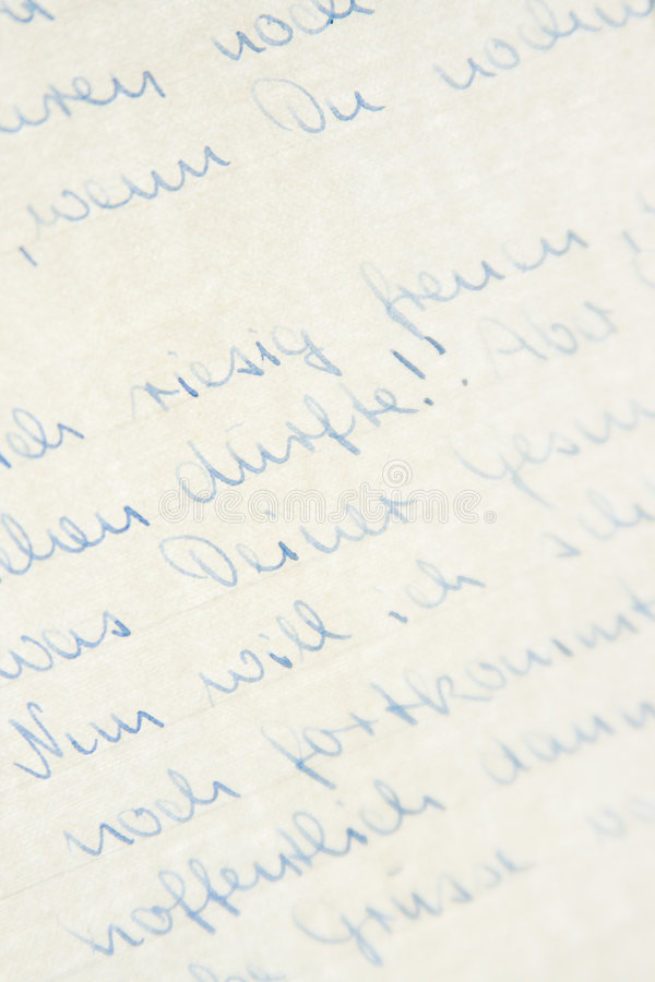 Handwriting. Background of letter written in German with pale blue ink royalty free stock photos