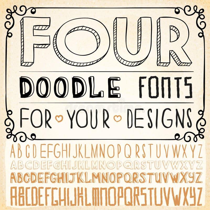 Handwriting Alphabets. Hand Drawn Fonts stock illustration
