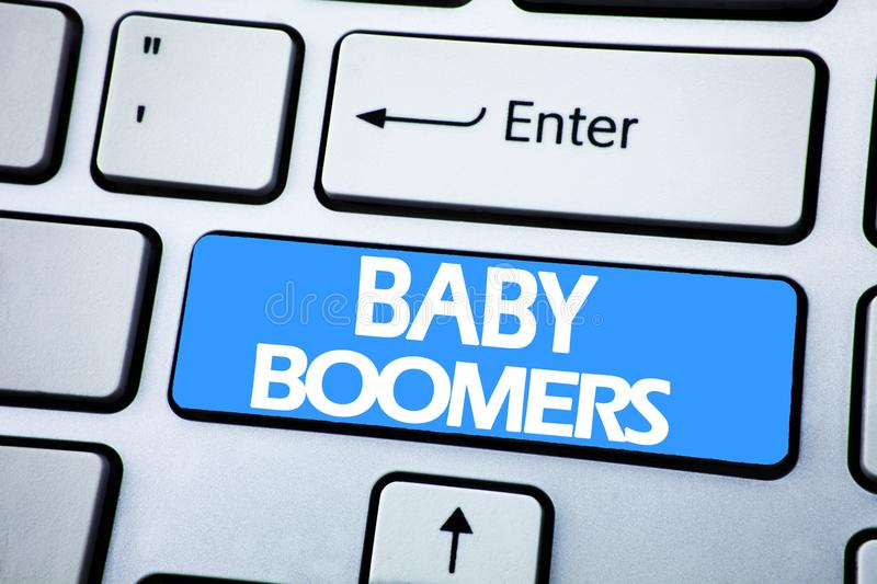 Handwriting Announcement text showing Baby Boomers. Business concept for Demographic Generation written on red key on the keybord. Handwriting Announcement text stock image