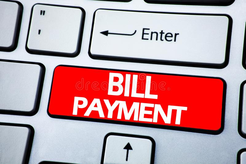 Handwriting Announcement text showing Bill Payment. Business concept for Billing Pay Costs written on red key on the keybord backg. Handwriting Announcement text royalty free stock images