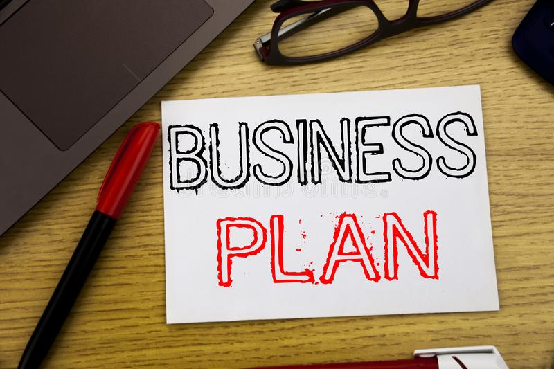 Handwriting Announcement text showing Business Plan Planning. Business concept for Preparation Project Strategy written on paper,. Wooden background in office royalty free stock photos