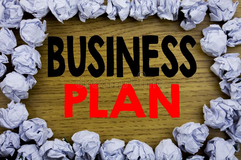Handwriting Announcement text showing Business Plan Planning. Business concept for Preparation Project Strategy written on wooden. Wood background with on old royalty free stock photography
