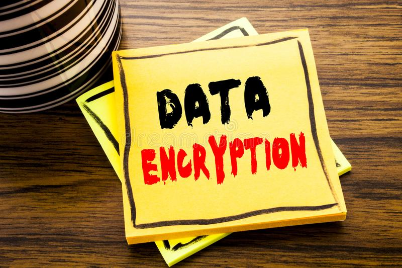 Handwriting Announcement text showing Data Encryption. Business concept for Information Security written on sticky note paper on t. Handwriting Announcement text royalty free stock photos