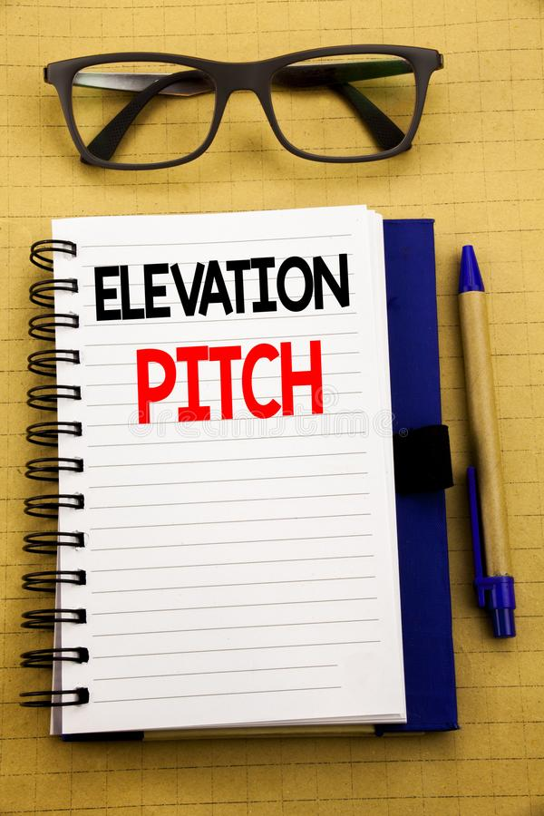 Handwriting Announcement text showing Elevation Pitch. Business concept for Talking Communication Written on tablet laptop, wooden. Handwriting Announcement text stock photography
