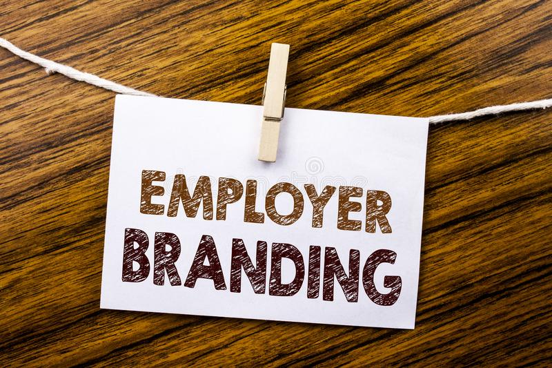 Handwriting Announcement text showing Employer Branding. Business concept for Brand Building written on sticky note paper on the w. Handwriting Announcement text stock image