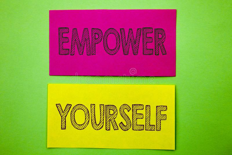 Handwriting Announcement text showing Empower Yourself. Conceptual photo Positive Motivation Advice For Personal Development writt royalty free illustration