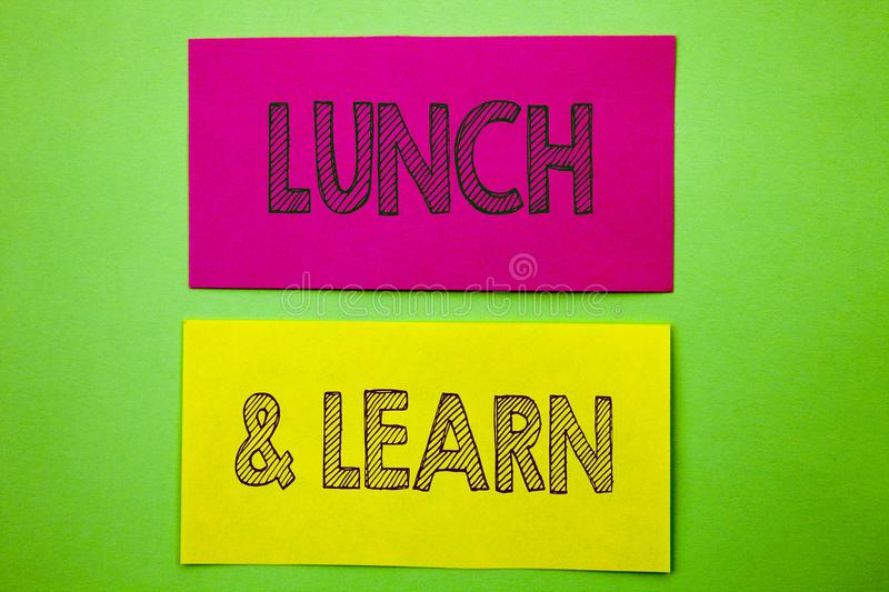 Handwriting Announcement text showing Lunch And Learn. Conceptual photo Presentation Training Board Course written on sticky note. Handwriting Announcement text royalty free stock photo