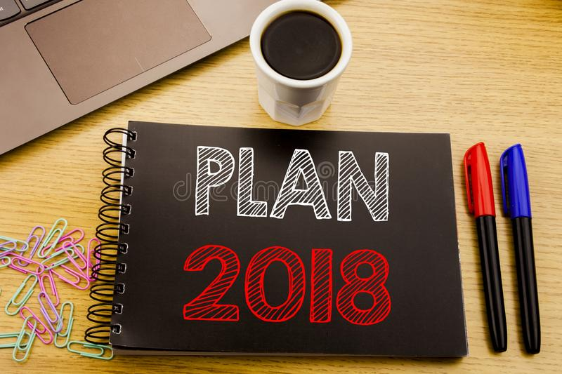 Handwriting Announcement text showing Plan 2018. Business concept for Planning Strategy Action Plan written on notebook book on th royalty free illustration