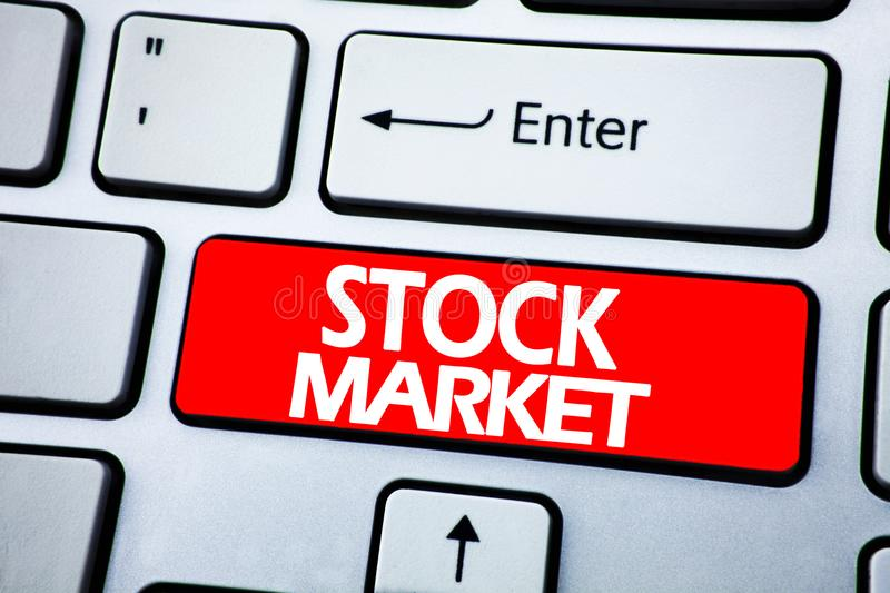 Handwriting Announcement text showing Stock Market. Business concept for Equity Share Exchange written on red key on the keybord b. Handwriting Announcement text royalty free stock photo