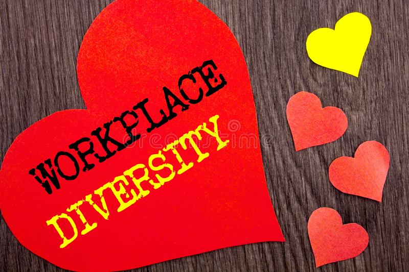 Handwriting Announcement text showing Workplace Diversity. Concept meaning Corporate Culture Global Concept For Disability written. Heart Love the wooden royalty free stock photography