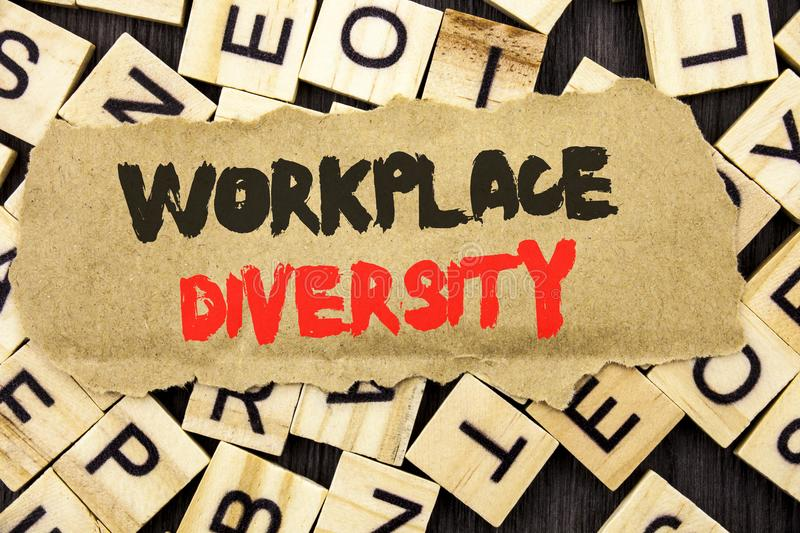 Handwriting Announcement text showing Workplace Diversity. Concept meaning Corporate Culture Global Concept For Disability written. Tear paper note the letter royalty free stock photography