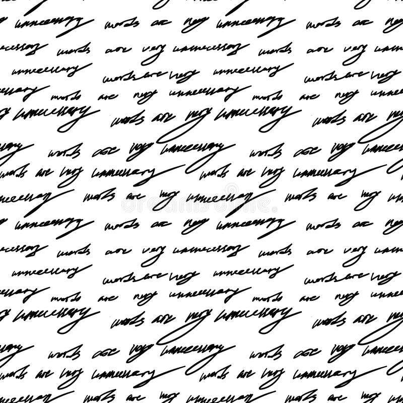 Handwriting background seamless pattern grunge letters words royalty free illustration