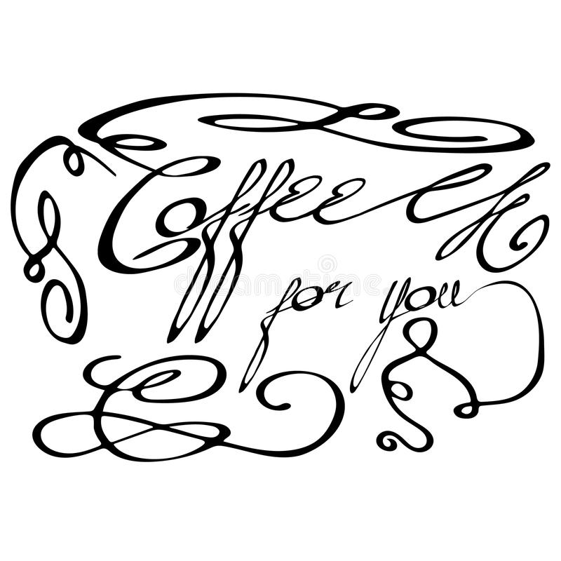 The calligraphic inscription-Coffee for you- royalty free stock photo