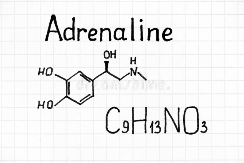 Handwriting Chemical formula of Adrenaline. Close up stock photos