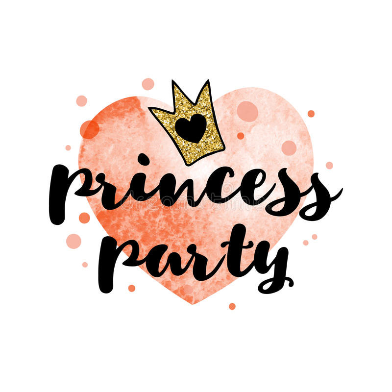 Handwriting inscription Princess party with a golden glitter crown on the red watercolor heart. royalty free illustration