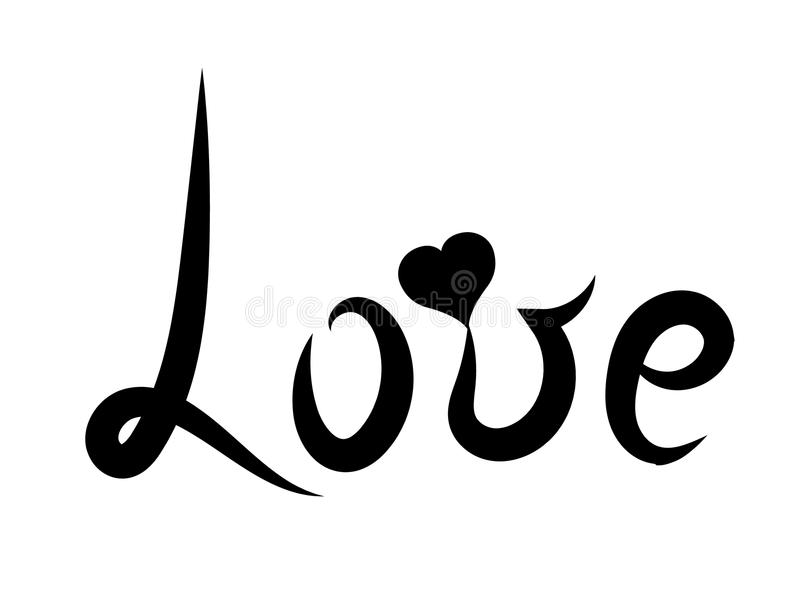 Lettering Black Word Love Romantic Style With Heart Vector