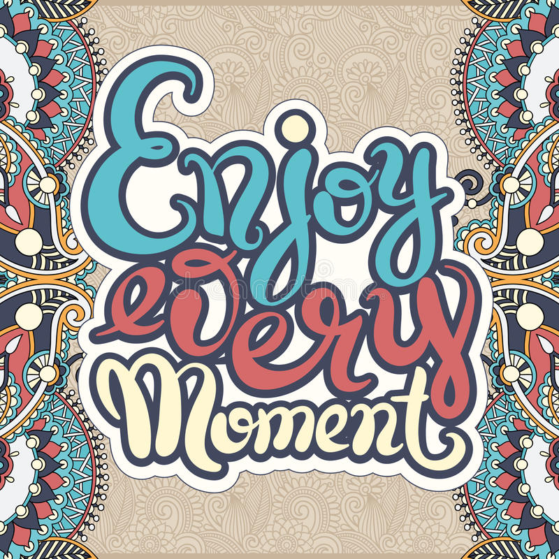 Enjoy Every Moment Black And White Hand Lettering
