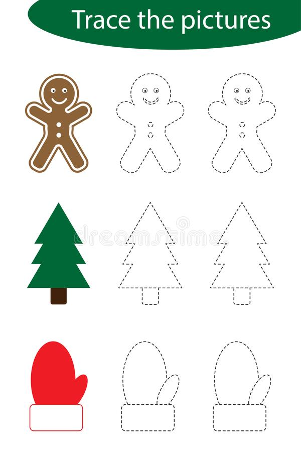 Handwriting practice sheet, christmas, trace the pictures - gingerbread, tree, mitten, kids preschool activity. Educational children game, printable worksheet stock illustration