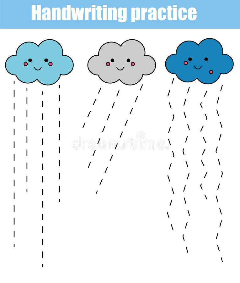 Handwriting practice sheet. Educational children game, printable worksheet for kids and toddlers stock illustration