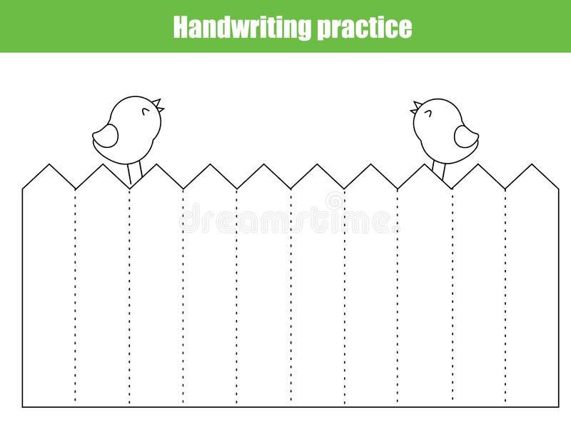 Handwriting practice sheet. Educational children game, printable worksheet for kids. Tracing straight lines. And color picture royalty free illustration