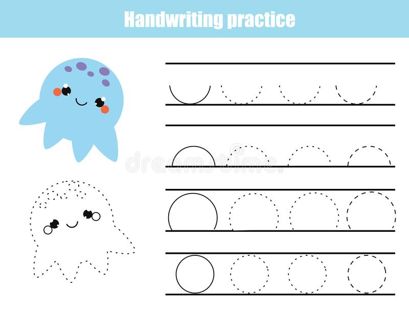 Handwriting practice sheet. Educational children game, printable worksheet for kids. Writing training printable worksheet. Arc sha. Handwriting practice sheet vector illustration