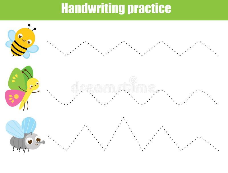 Handwriting practice sheet with funny insects. Educational children game. Tracing lines. early education worksheet for kids. Handwriting practice sheet with royalty free illustration