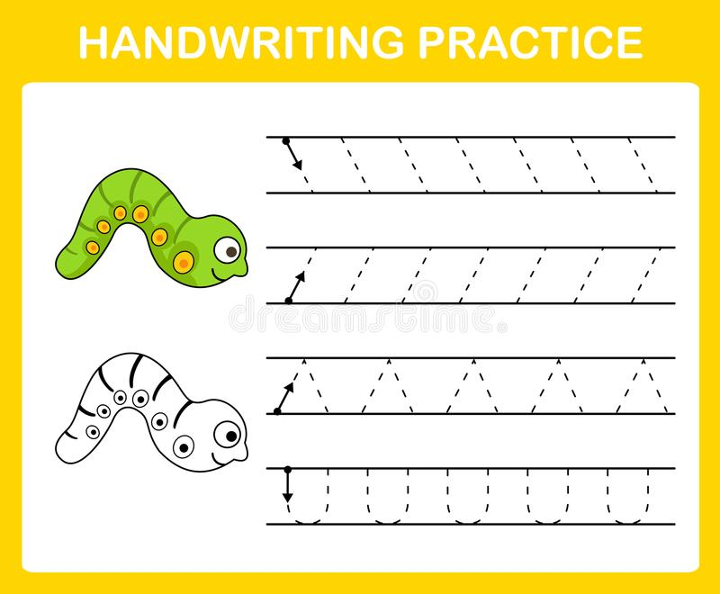 Handwriting practice sheet royalty free illustration
