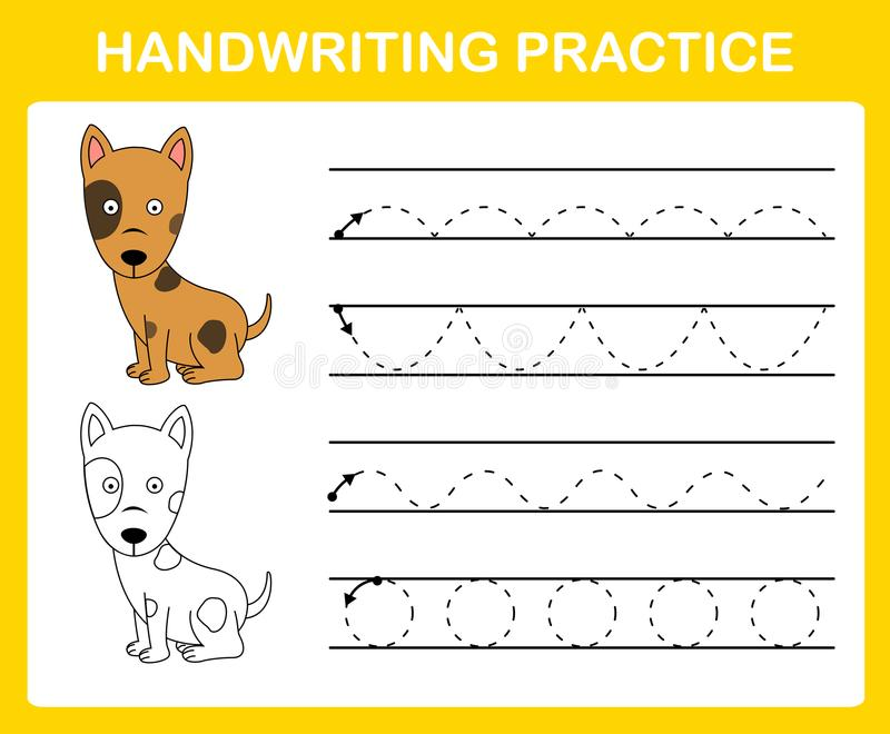 Handwriting praktyki prześcieradło ilustracja wektor