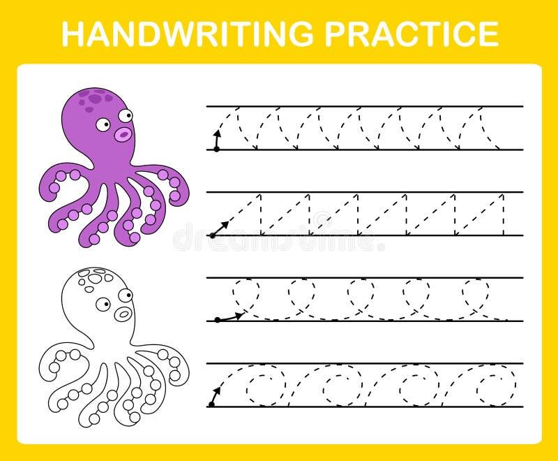 Handwriting praktyki prześcieradło royalty ilustracja