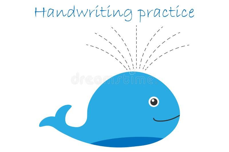 Handwriting praktyki prześcieradło, wieloryb w kreskówka stylu, żartuje preschool aktywność, edukacyjna dziecko gra, printable wo ilustracji