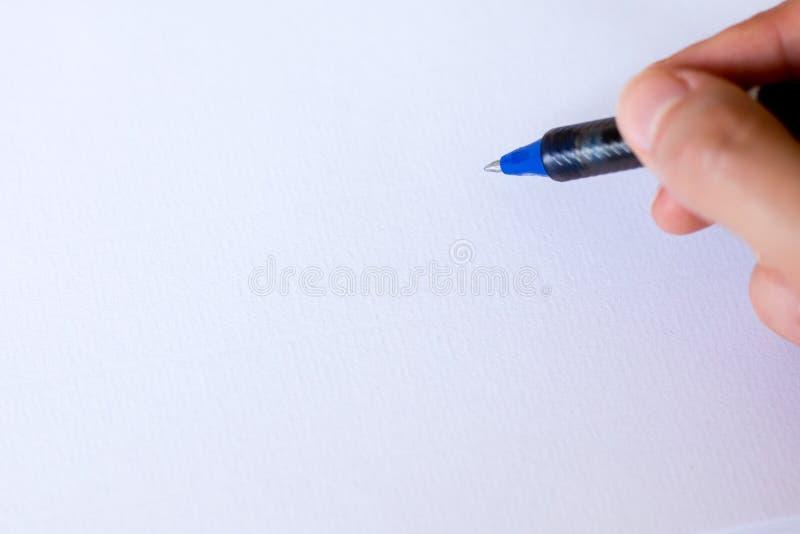 Handwriting, ręka pisze piórze w notatniku fotografia royalty free